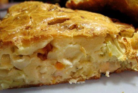 Пирог из жидкого теста с капустой рецепт пошаговый