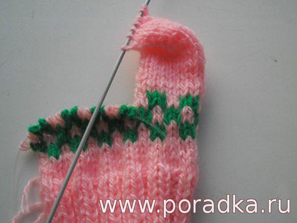 вязание стопы на двух спицах
