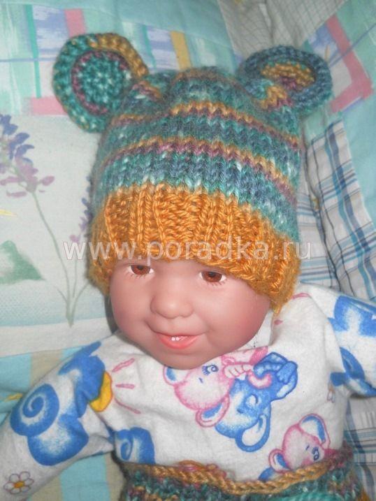 вязаная шапка с ушками для новорожденного