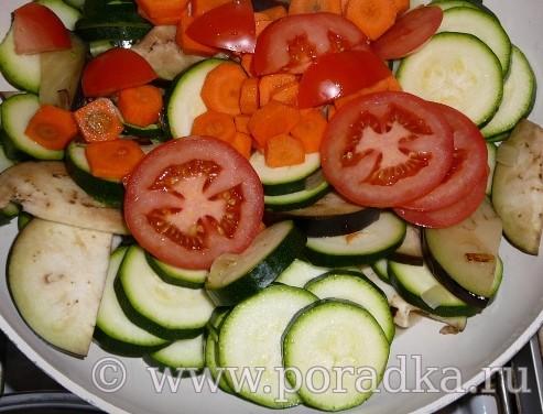 нарезанные овощи потушить