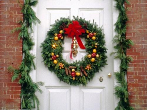 украшение двери в новый год
