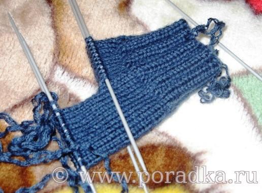 вязание пятки спицами