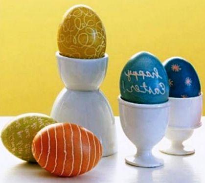 как расписать яйца воском